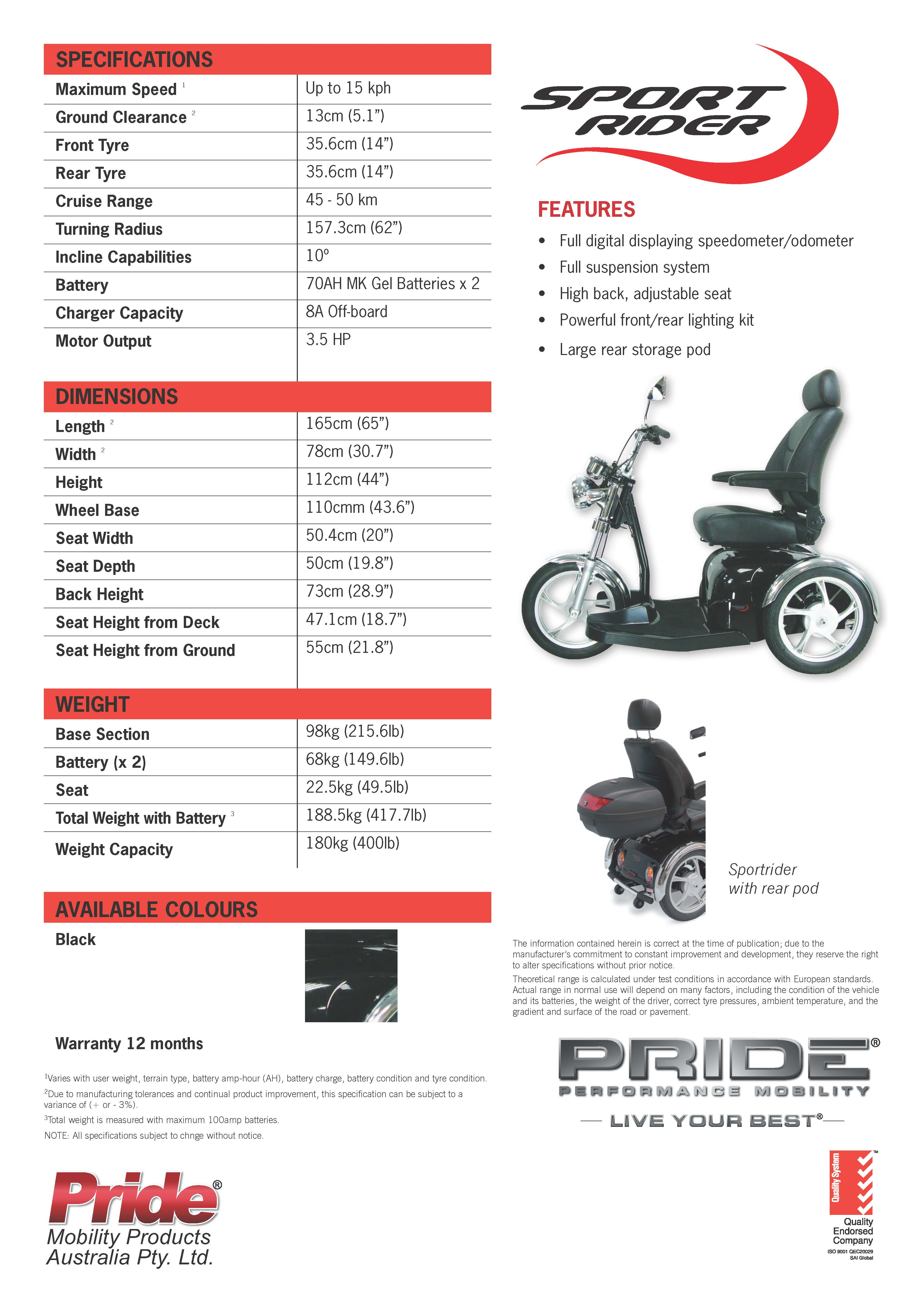 Mobility Scooters: Pride Sportrider Mobility Scooter