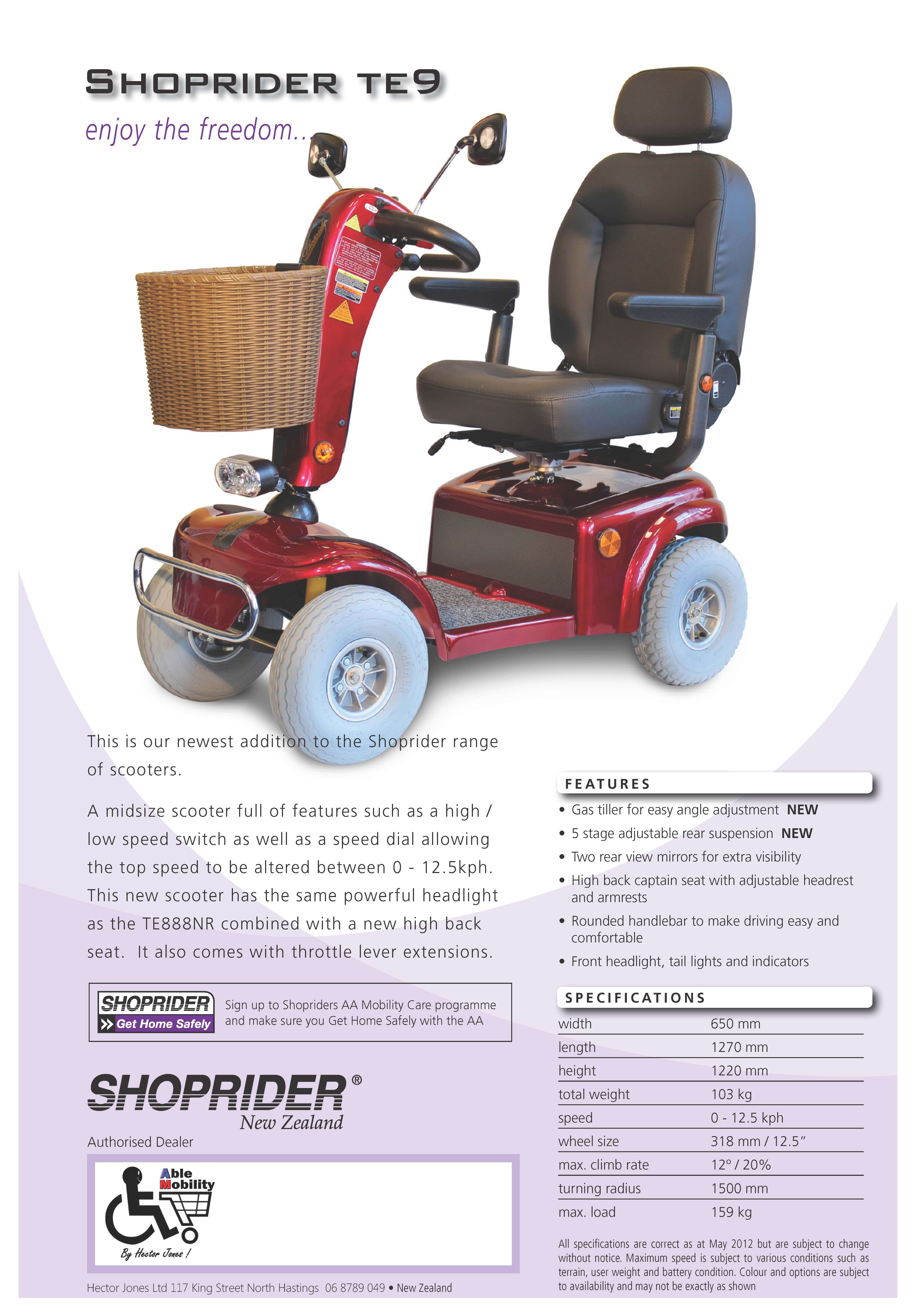Mobility Scooters: Shoprider TE9 Mobility Scooter